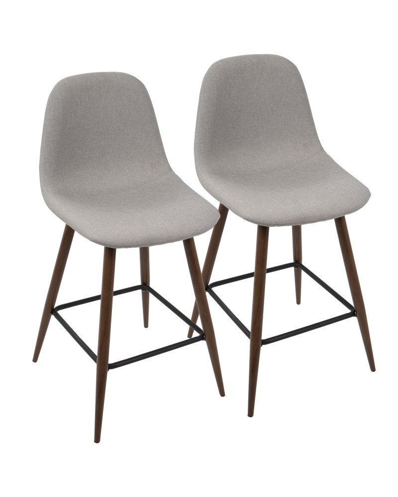 Pebble Mid-Century Modern Counter Stool in Walnut and Light Grey - Set of 2
