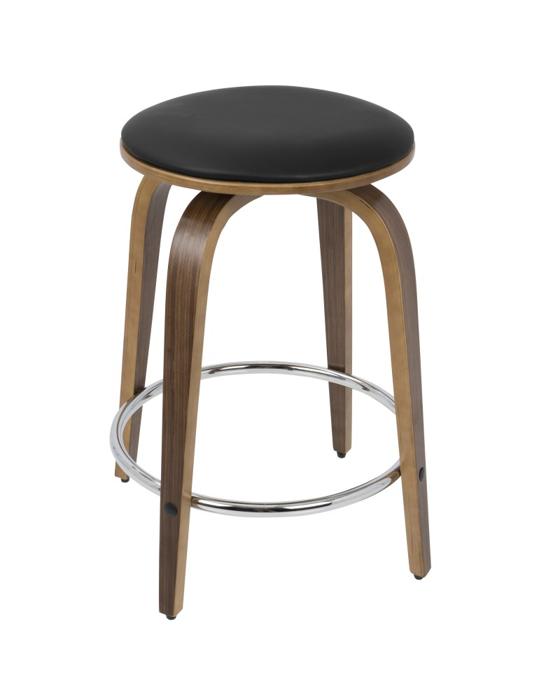 Porto Mid-Century Modern Counter Stool in Walnut and Brown Faux Leather with Chrome Footrest - Set of 2