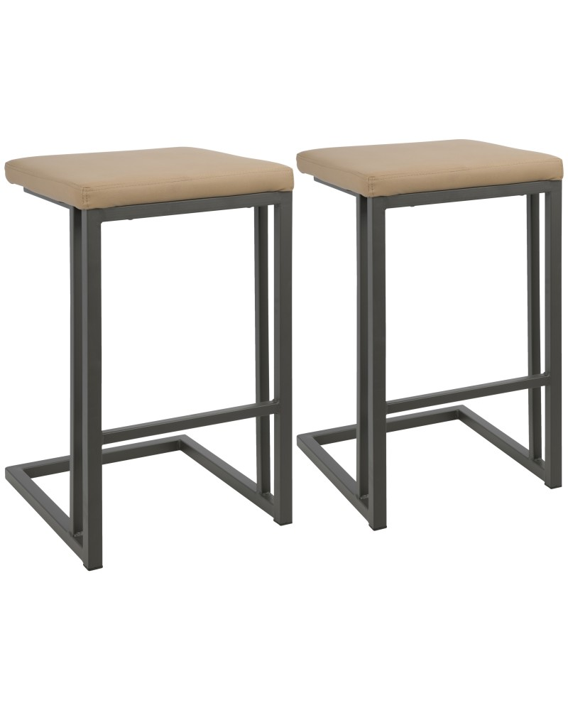 Roman Industrial Counter Stool in Grey and Camel Faux Leather - Set of 2