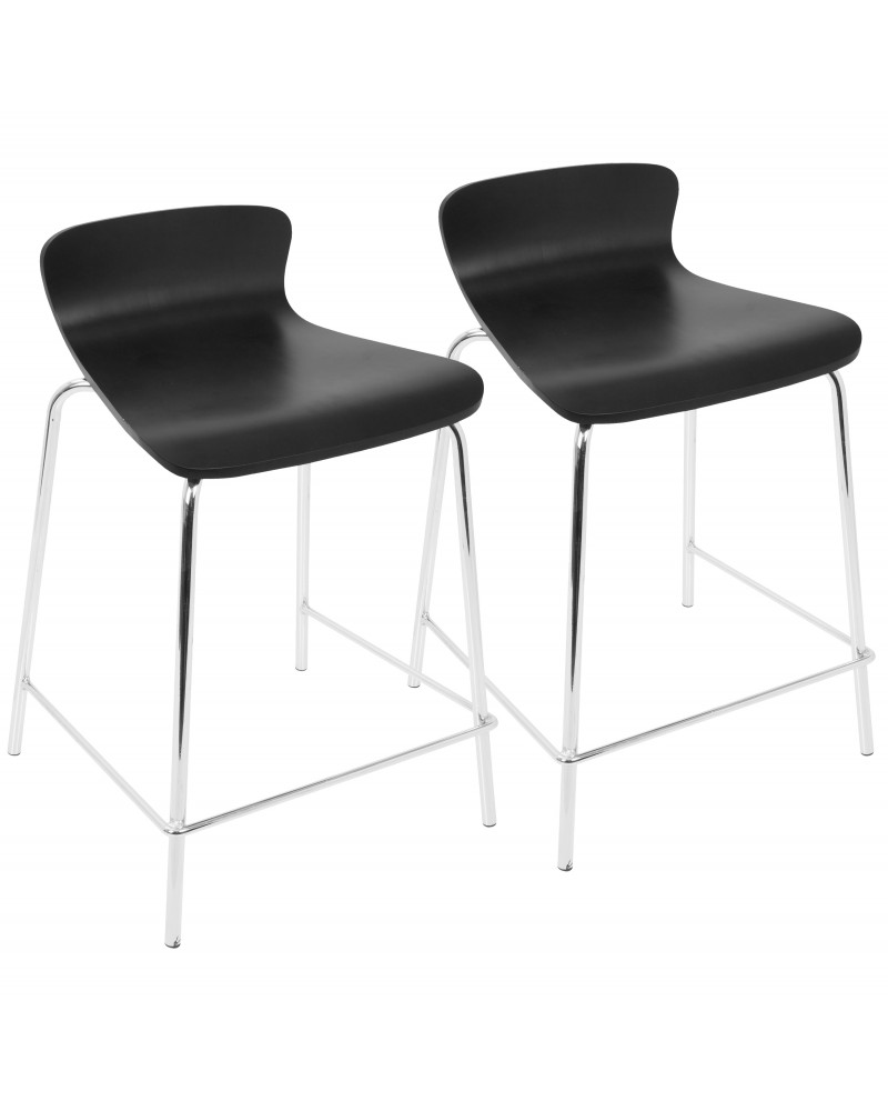 Woodstacker Contemporary Stackable Counter Stools in Black - Set of 2