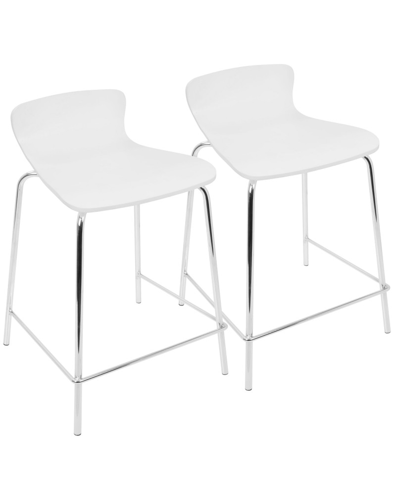 Woodstacker Contemporary Stackable Counter Stools in White - Set of 2