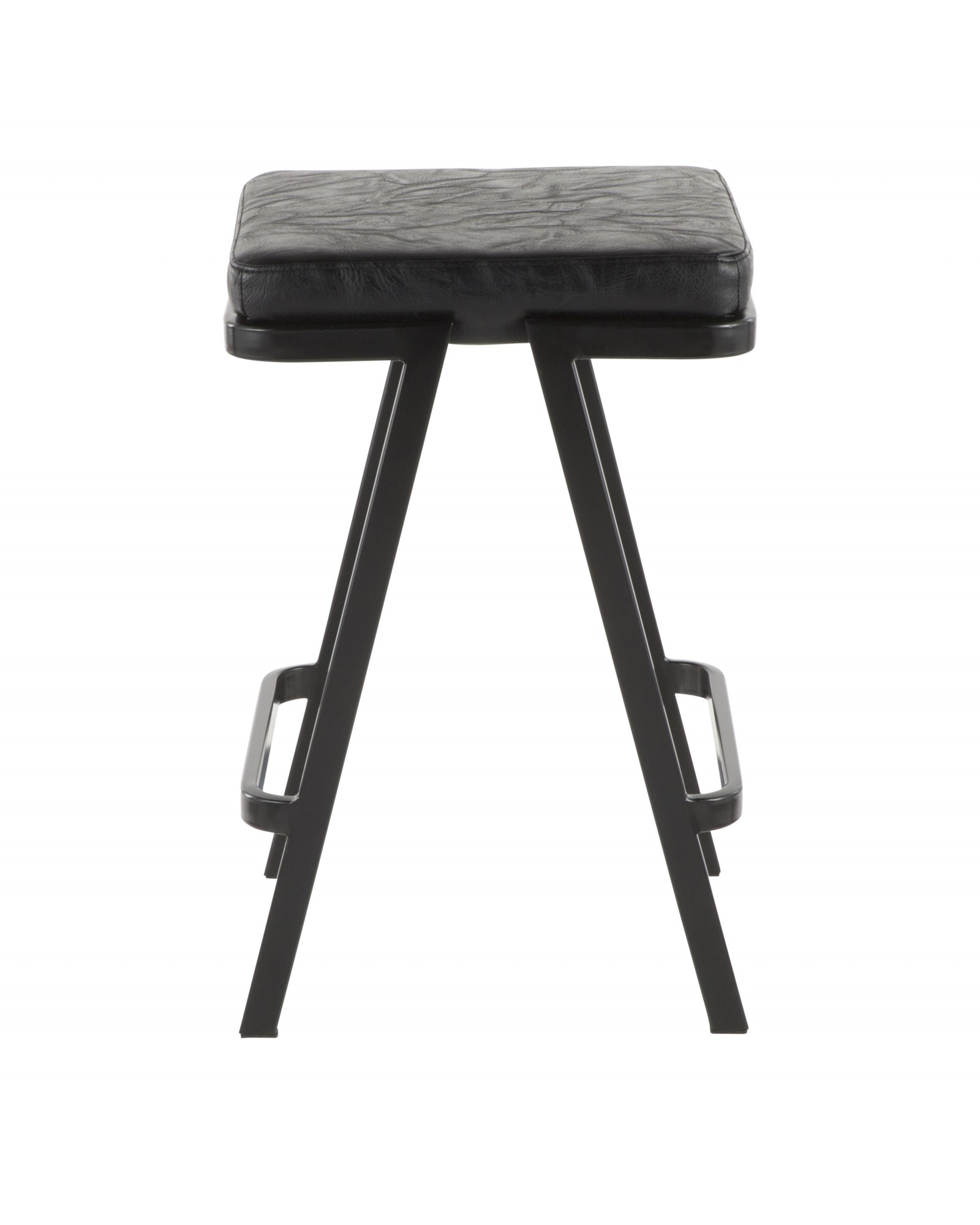 Seven Industrial Counter Stool in Black Metal and Black Faux Leather