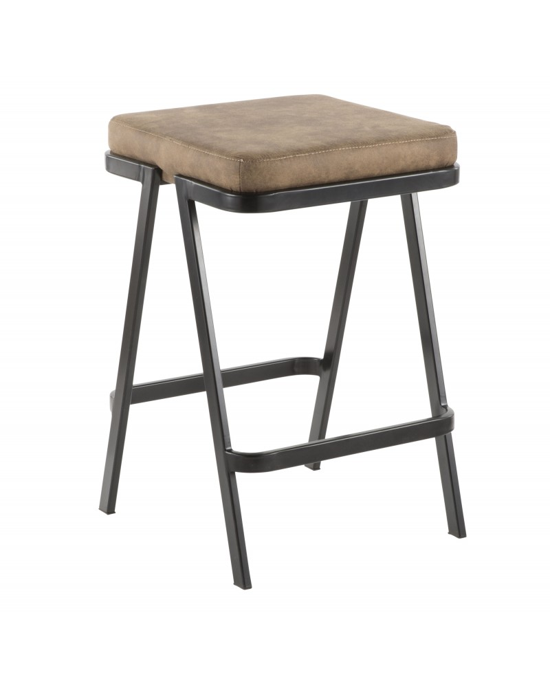 Seven Industrial Counter Stool in Black Metal and Brown Cowboy Fabric