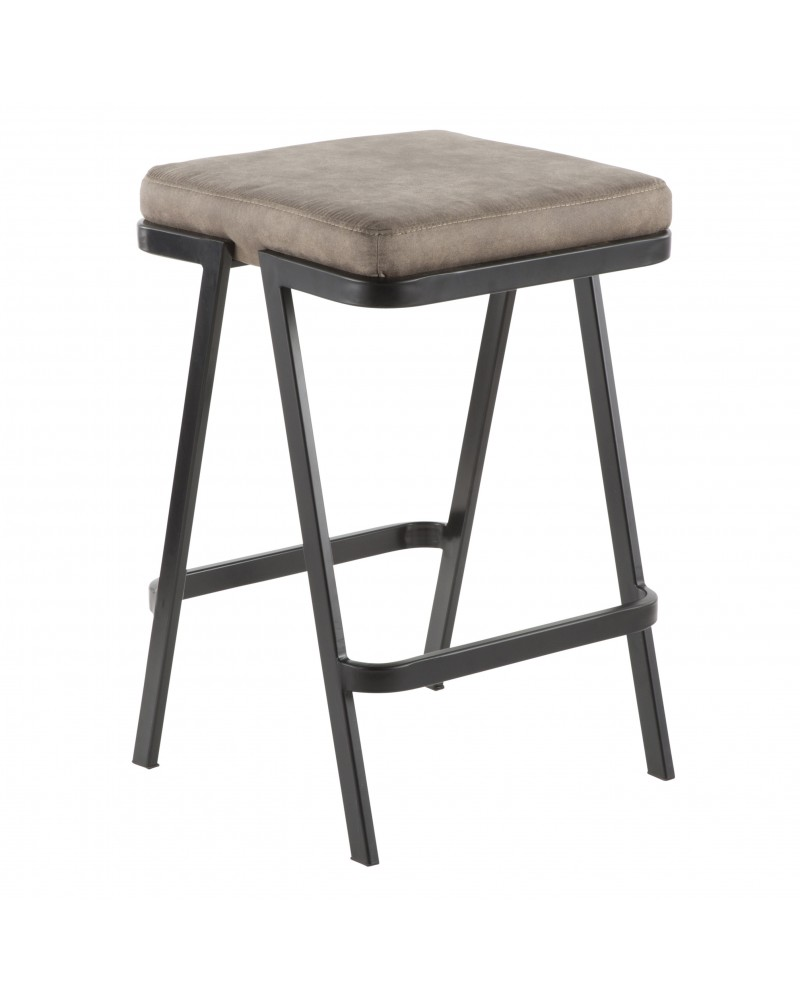 Seven Industrial Counter Stool in Black Metal and Grey Cowboy Fabric