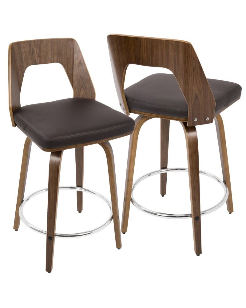 Trilogy Mid-Century Modern Counter Stool in Walnut and Brown Faux Leather
