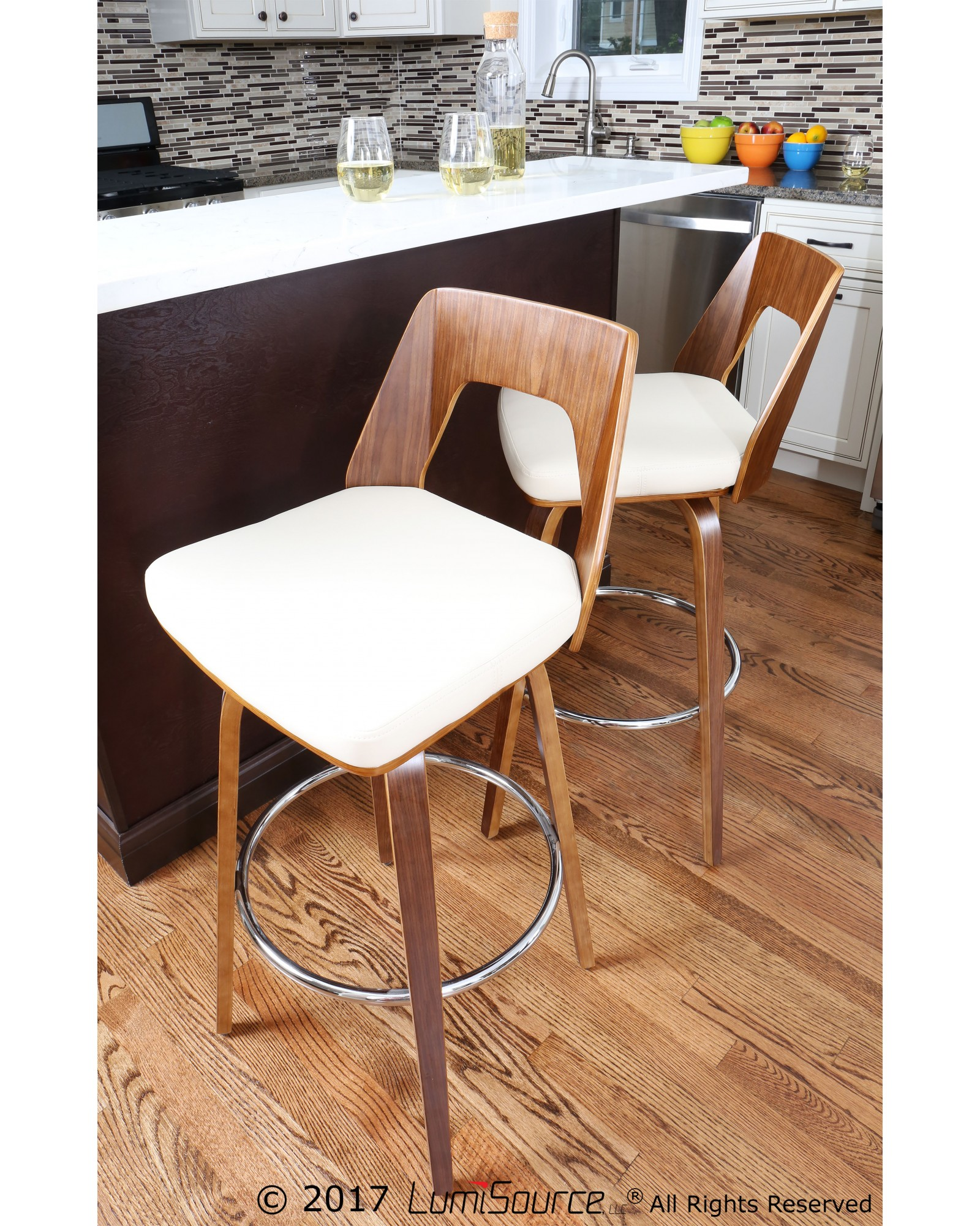 Trilogy Mid-Century Modern Counter Stool in Walnut and Cream Faux Leather