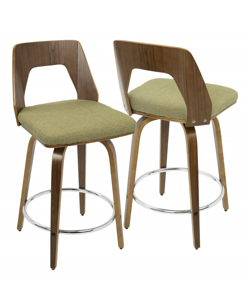 Trilogy Mid-Century Modern Counter Stool in Walnut and Green Fabric
