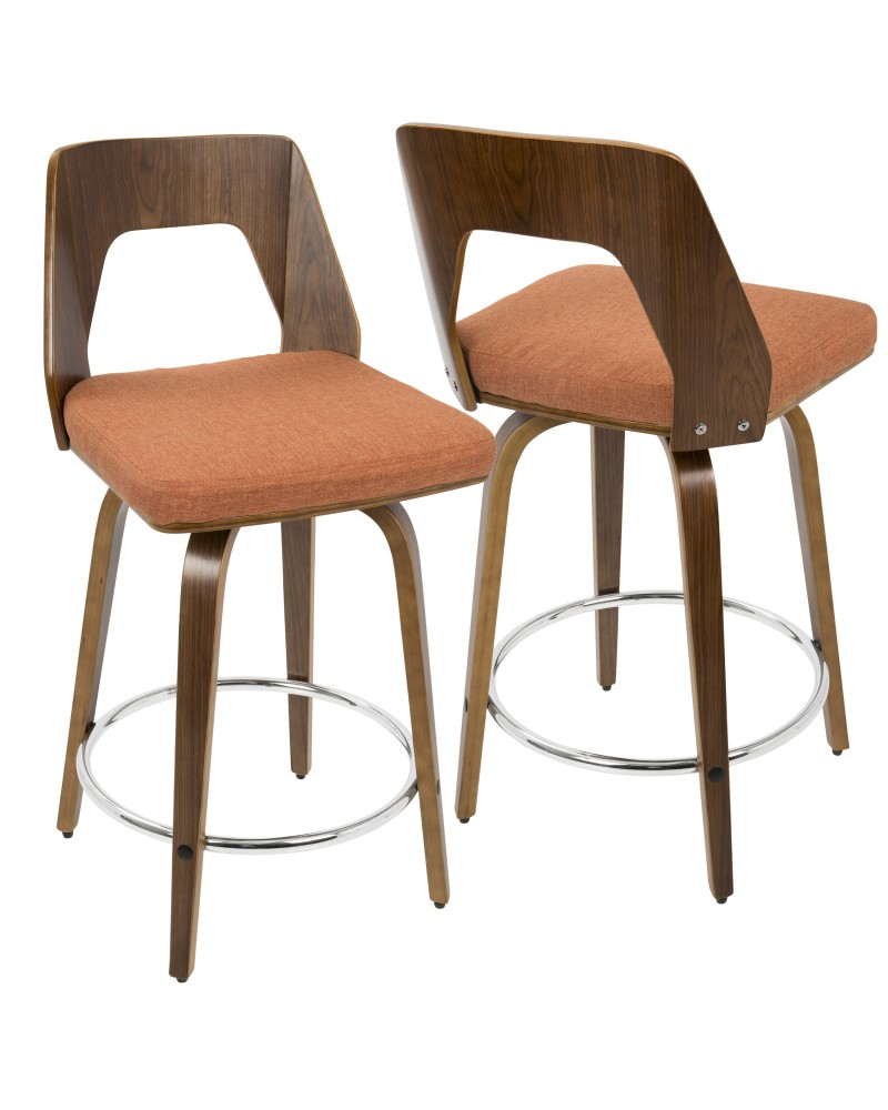 Trilogy Mid-Century Modern Counter Stool in Walnut and Orange Fabric