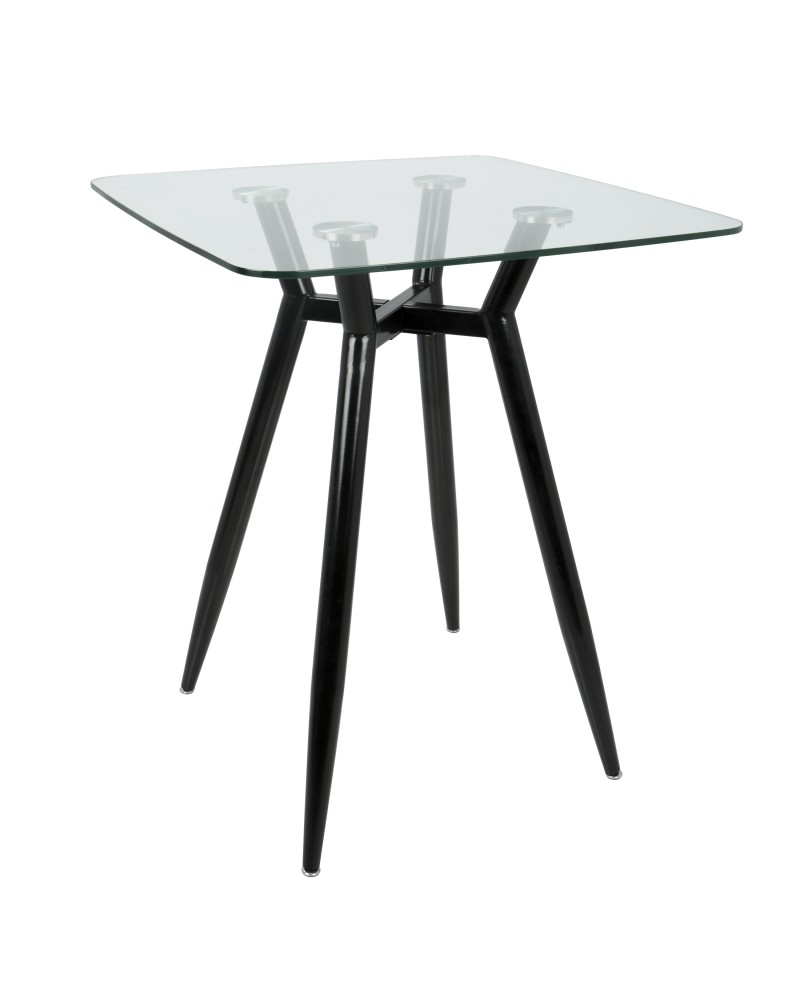 Clara Mid-Century Modern Square Counter Table with Black Metal Legs and Clear Glass Top