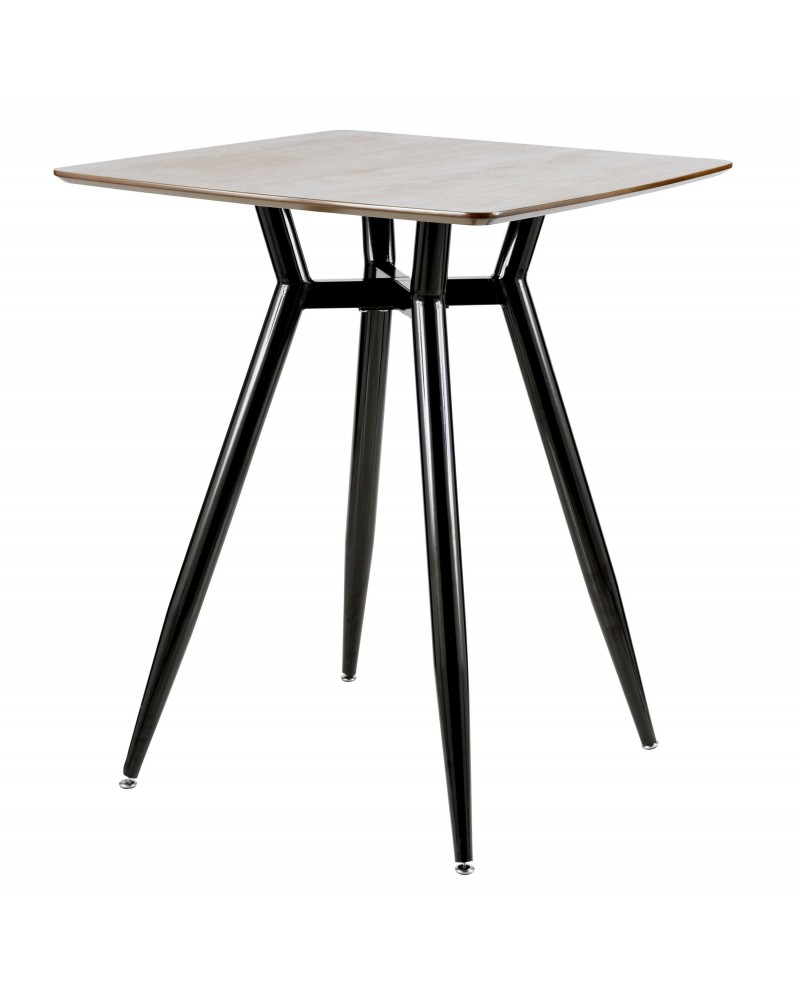 Clara Mid-Century Modern Square Counter Table with Black Metal Legs and Walnut Wood Top