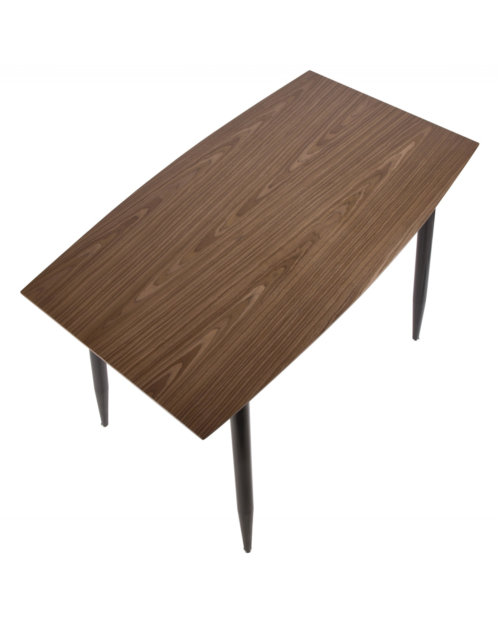 Clara Mid-Century Modern Counter Table with Black Metal Legs and Walnut Wood Top
