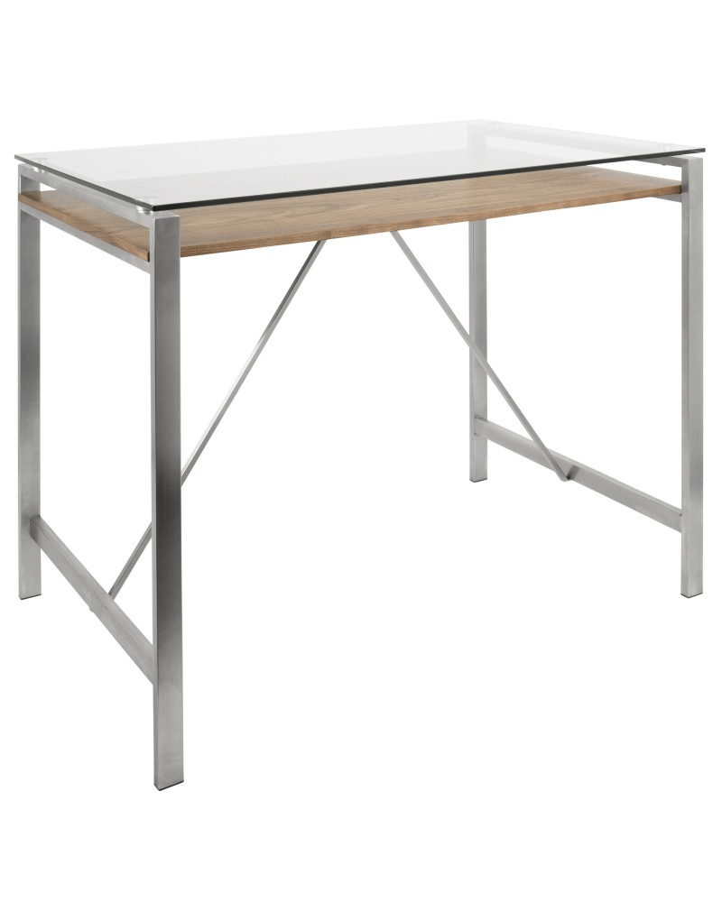 Hover Mid-Century Modern Counter Table with Brushed Stainless Steel Frame, Walnut Wood Shelf, and Clear Glass Top