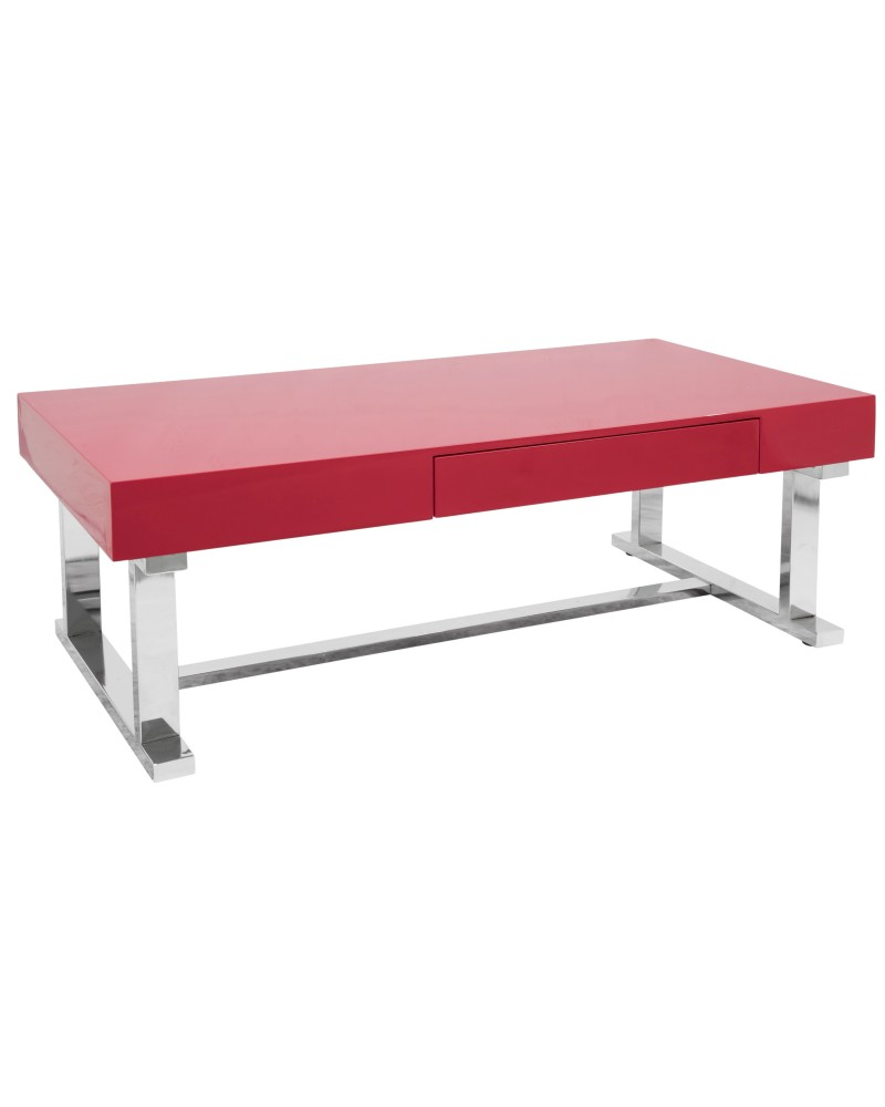 Luster Contemporary Coffee Table in Red