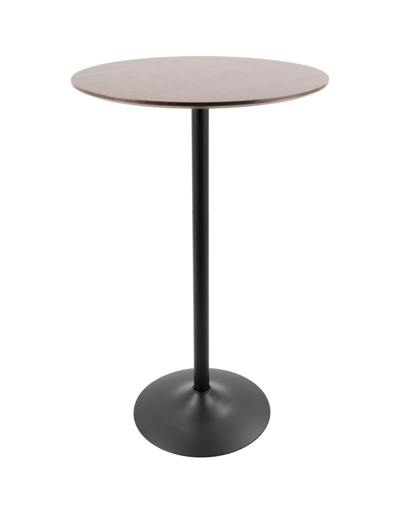 Pebble Mid-Century Modern Adjustable Bar/Counter Table in Walnut and Black
