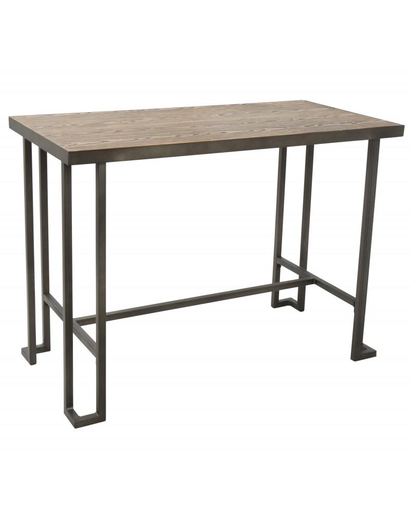 Roman Industrial Counter Table in Antique and Brown