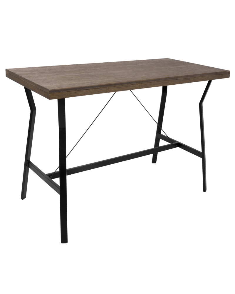 Wishbone Industrial Counter Table in Walnut and Black