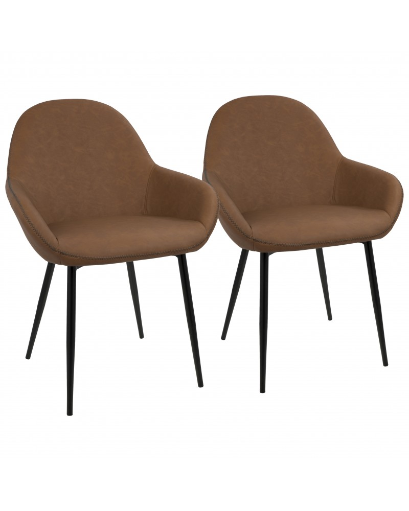 Clubhouse Contemporary Dining Chair in Black with Brown Vintage Faux Leather - Set of 2