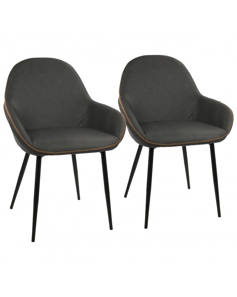 Clubhouse Contemporary Dining Chair in Black with Grey Vintage Faux Leather - Set of 2