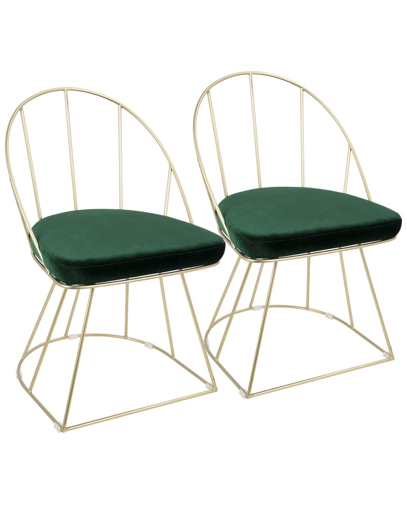Canary Contemporary-Glam Dining/Accent Chair in Gold and Green Velvet - Set of 2