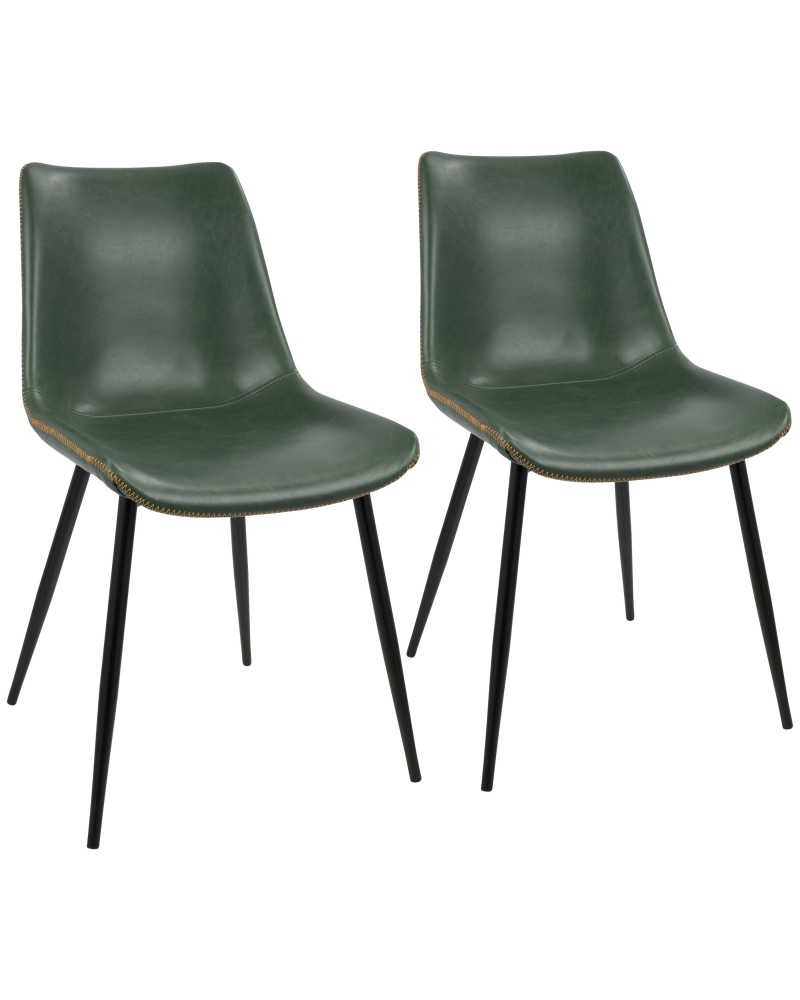 Durango Contemporary Dining Chair in Black with Green Vintage Faux Leather - Set of 2