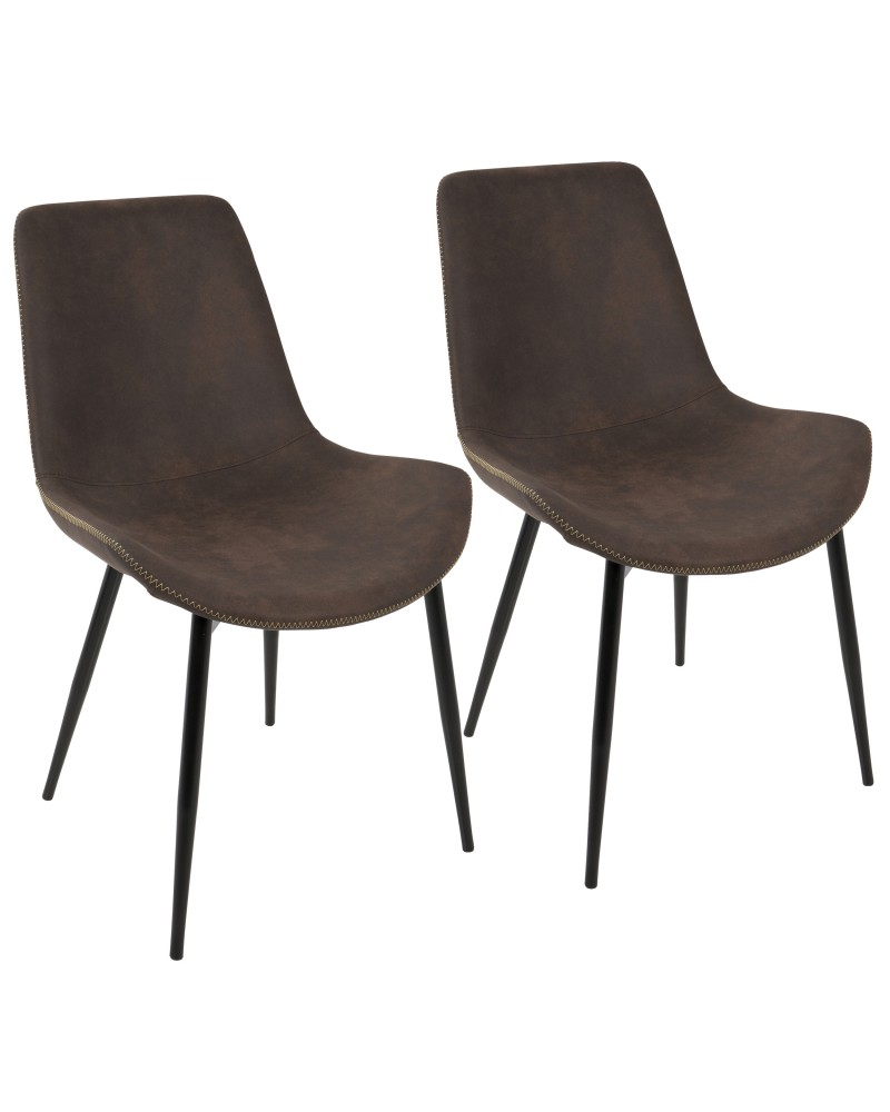 Duke Industrial Dining Chair in Black and Espresso Fabric - Set of 2