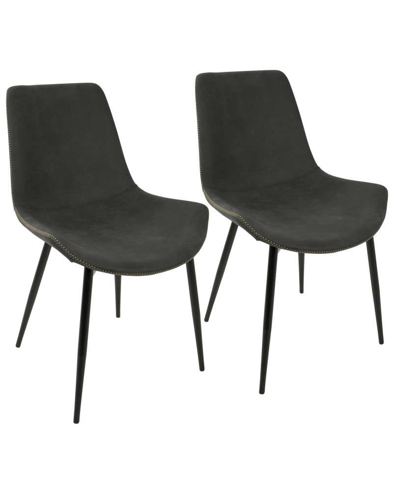 Duke Industrial Dining Chair in Black and Grey Fabric - Set of 2