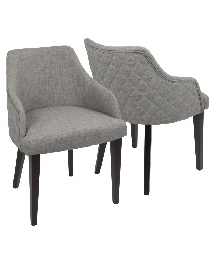 Elliott Contemporary Dining Chair in Espresso with Grey Fabric - Set of 2