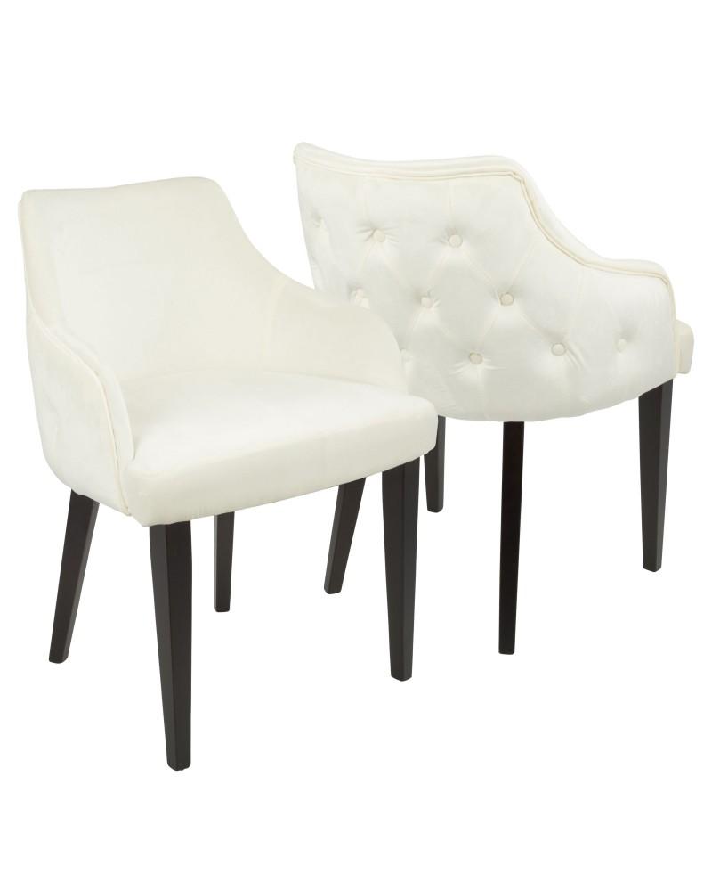 Eliza Contemporary Dining Chair in Espresso with Cream Velvet - Set of 2