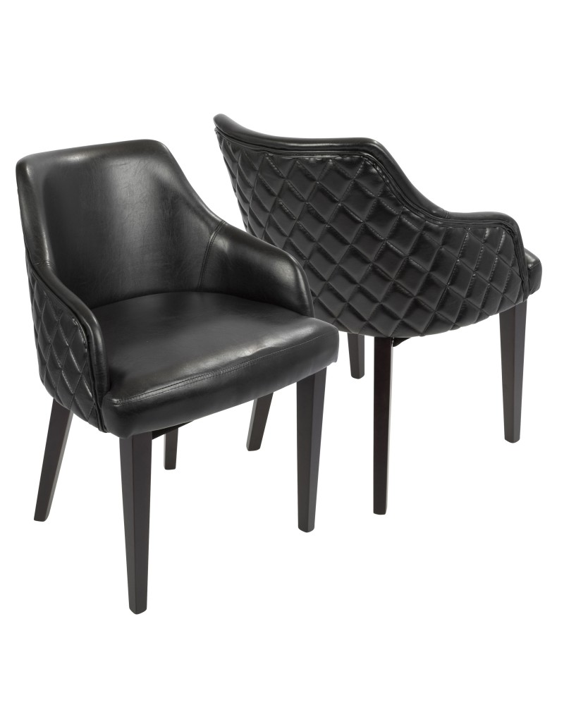 Esteban Contemporary Dining Chair in Espresso with Black Faux Leather - Set of 2