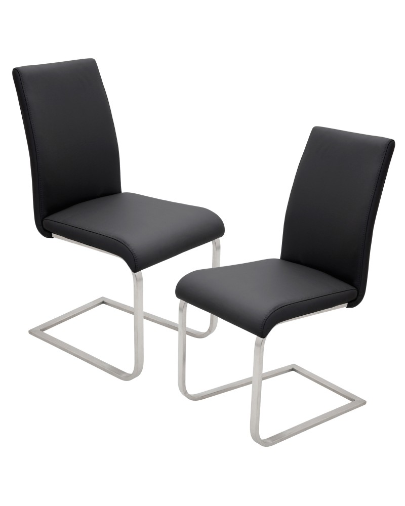 Foster Contemporary Dining Chair in Black Faux Leather - Set of 2