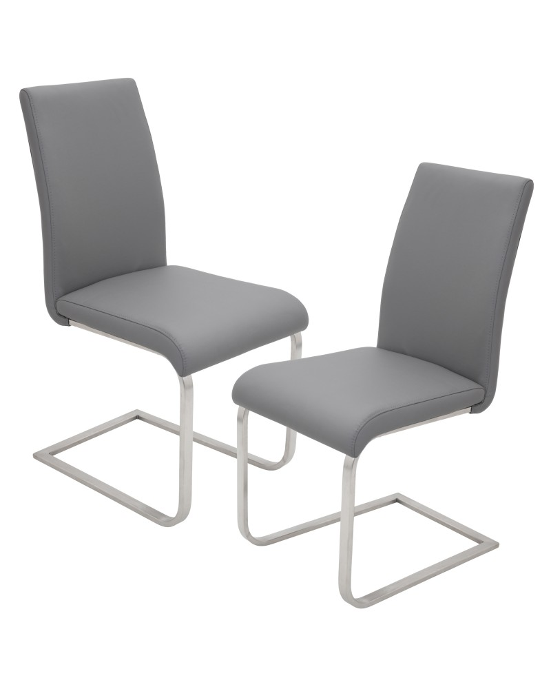 Foster Contemporary Dining Chair in Grey Faux Leather - Set of 2