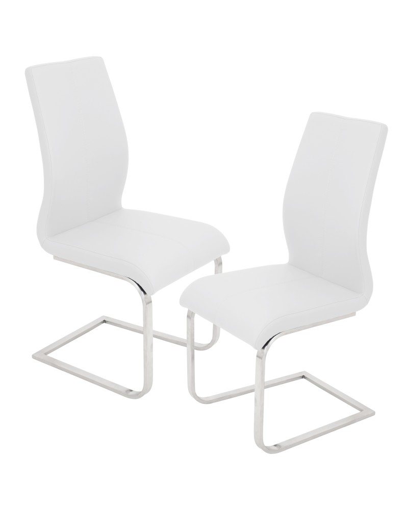 Foster Contemporary Dining Chair in White Faux Leather - Set of 2