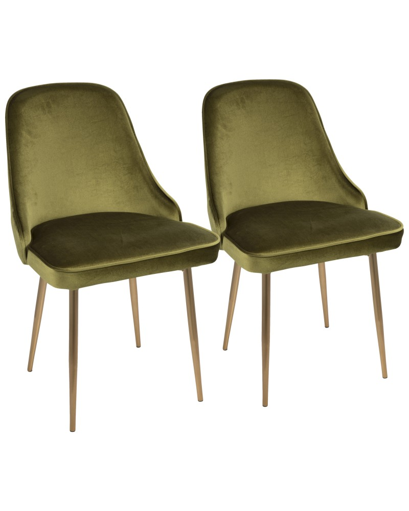 Marcel Contemporary Dining Chair with Gold Frame and Green Velvet Fabric - Set of 2