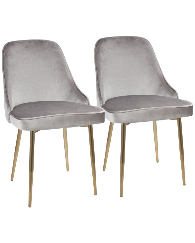 Marcel Contemporary Dining Chair with Gold Frame and Silver Velvet Fabric - Set of 2