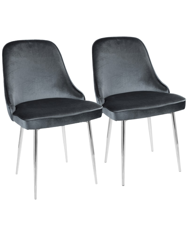 Marcel Contemporary Dining Chair with Chrome Frame and Blue Velvet Fabric - Set of 2