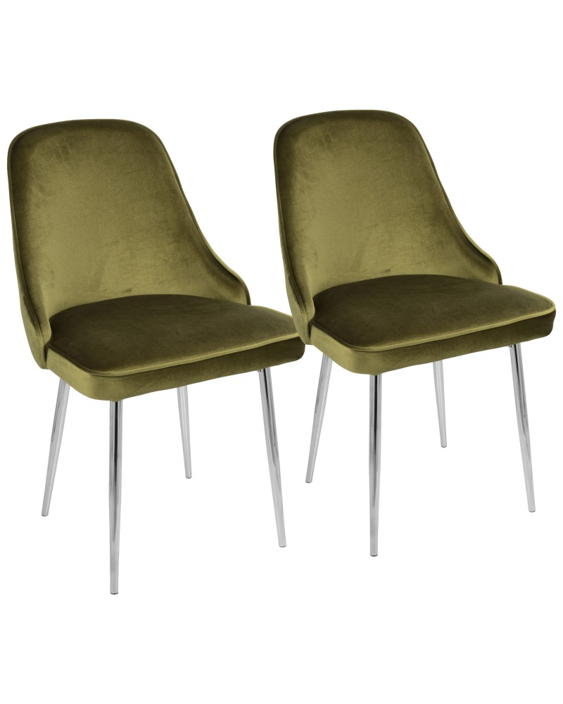 Marcel Contemporary Dining Chair with Chrome Frame and Green Velvet Fabric - Set of 2