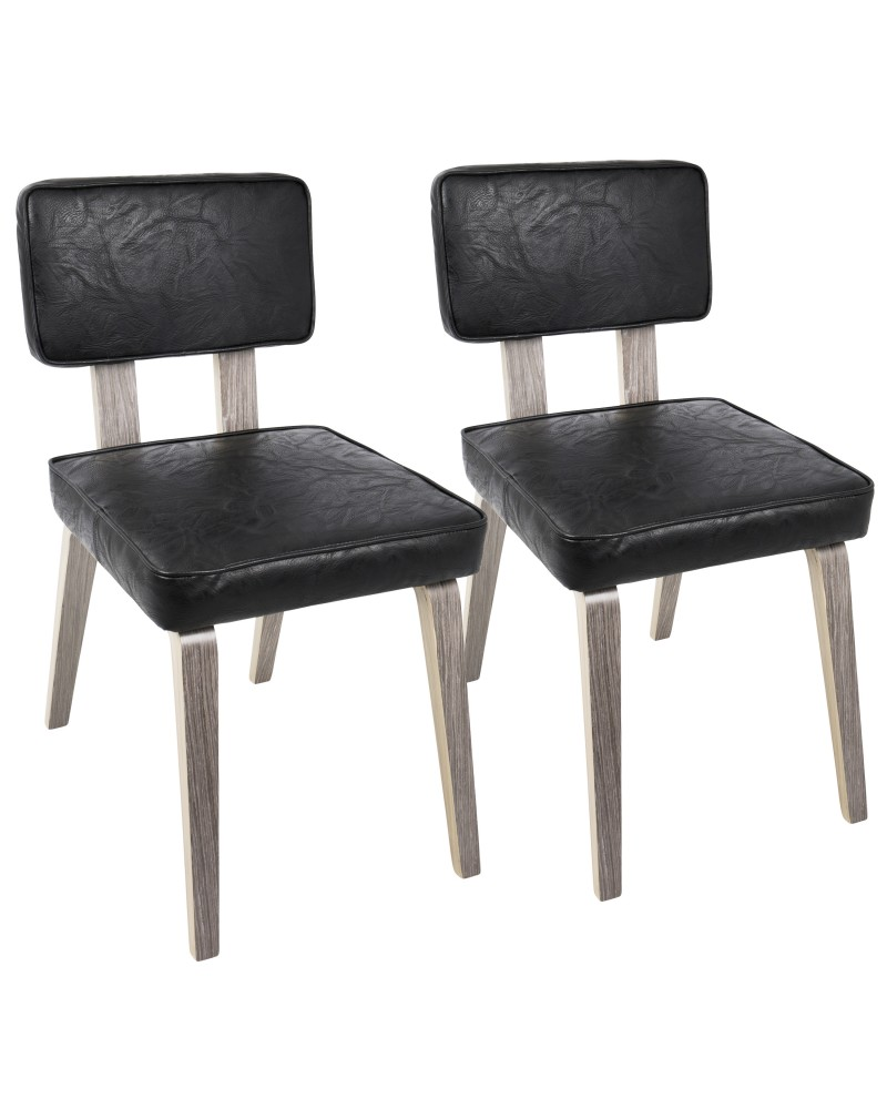 Nunzio Mid-Century Modern Dining Chair in Light Grey Wood and Black Faux Leather - Set of 2