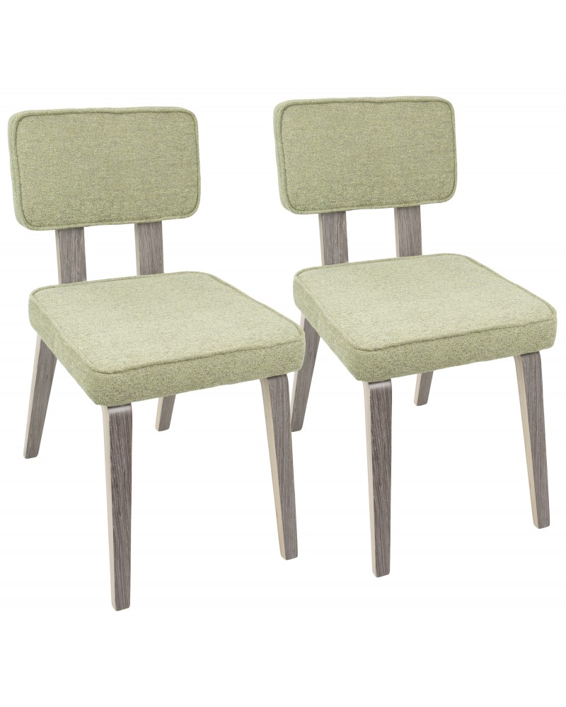 Nunzio Mid-Century Modern Dining Chair in Light Grey Wood and Light Green Fabric - Set of 2