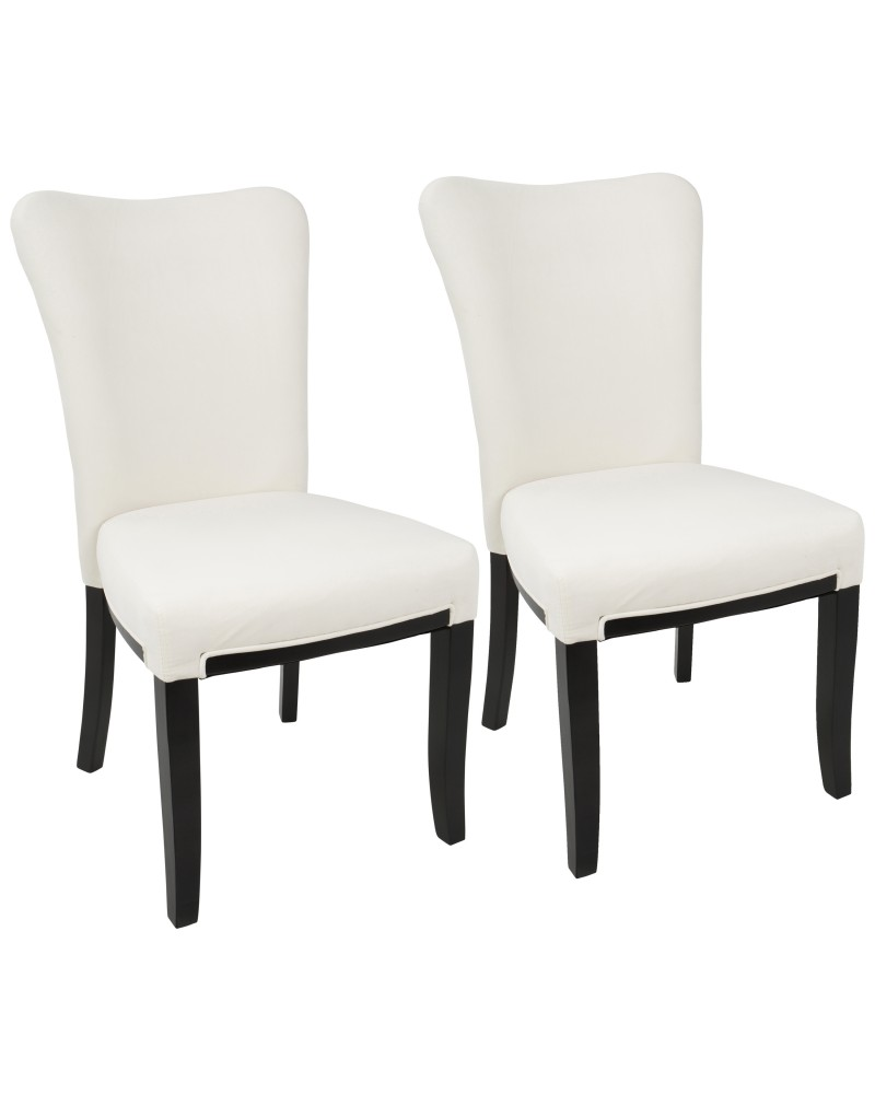 Olivia Contemporary Dining Chair in Espresso Wood and Cream Velvet - Set of 2