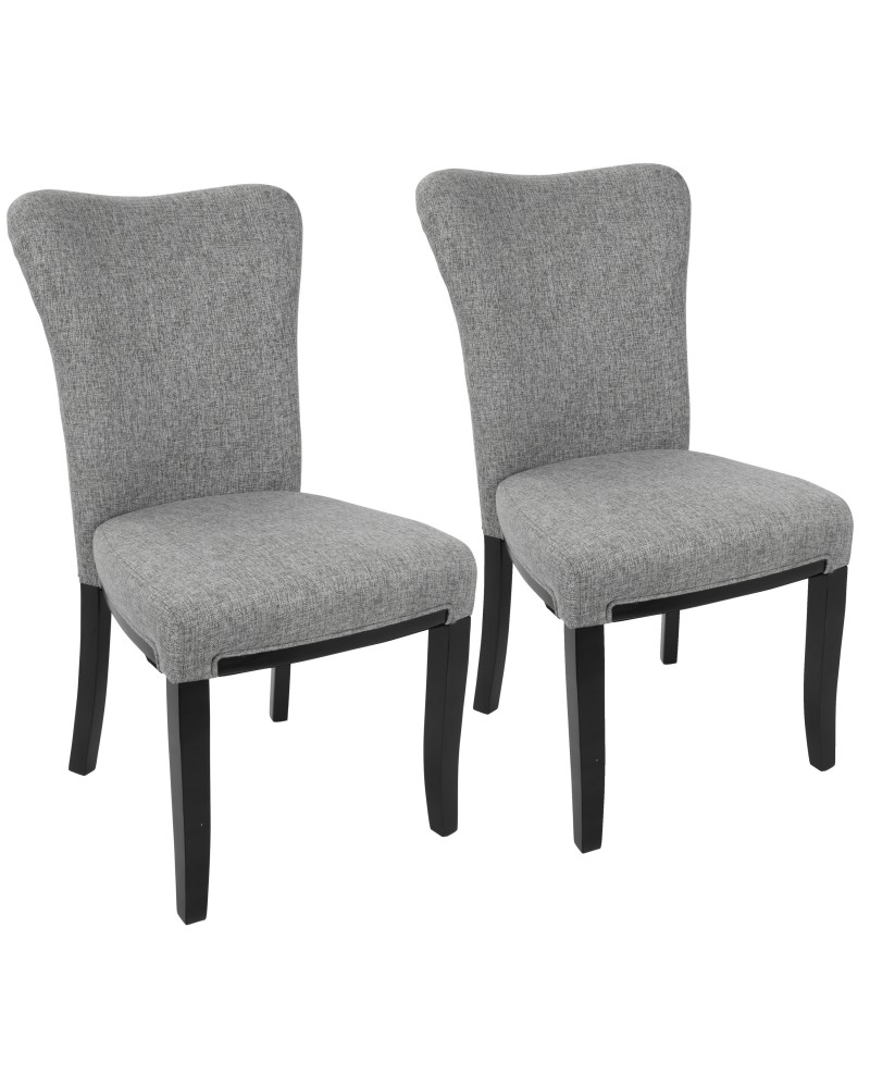 Olivia Contemporary Dining Chair in Espresso Wood and Grey Fabric - Set of 2