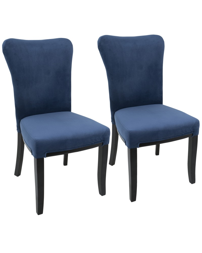 Olivia Contemporary Dining Chair in Espresso Wood and Navy Blue Velvet - Set of 2