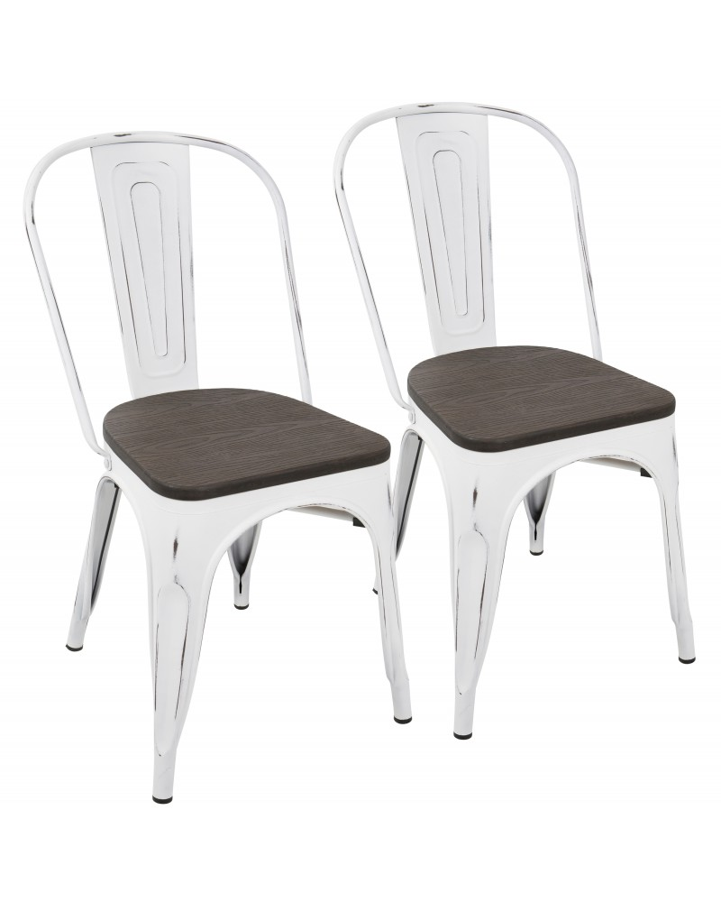 Oregon Industrial-Farmhouse Stackable Dining Chair in Vintage White and Espresso - Set of 2