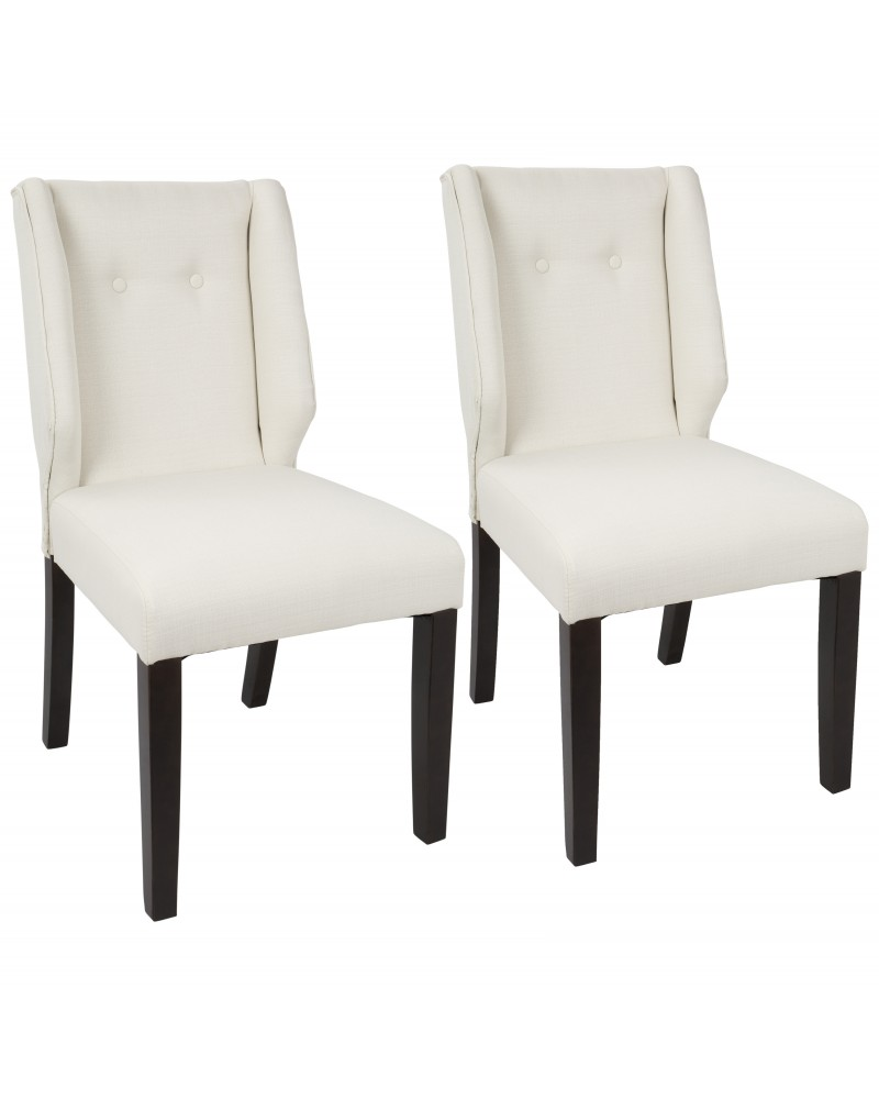 Rosario Contemporary Dining Chair in Walnut and Cream - Set of 2