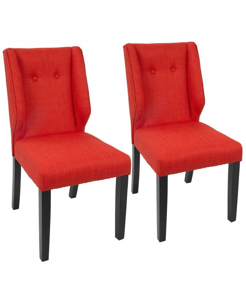 Rosario Contemporary Dining Chair in Walnut and Orange - Set of 2