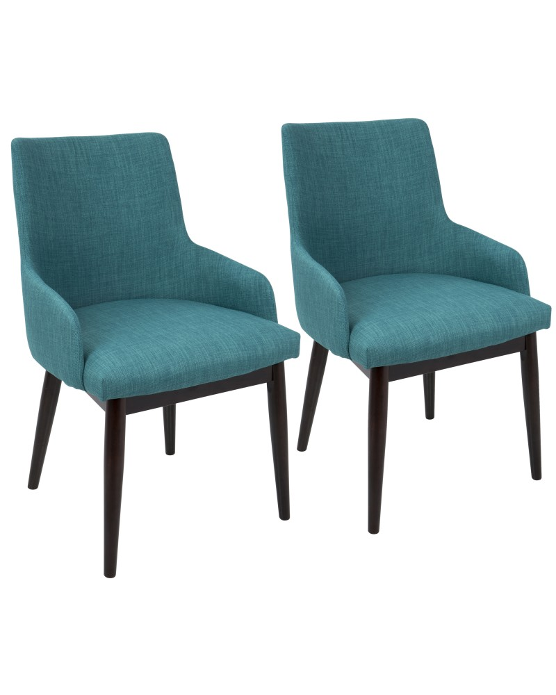 Santiago Mid-Century Modern Dining/Accent Chair in Walnut with Teal Fabric - Set of 2