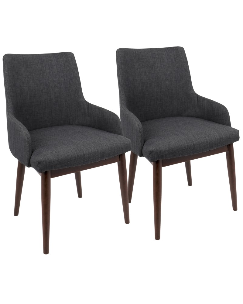 Santiago Mid-Century Modern Dining/Accent Chair in Walnut with Charcoal Fabric - Set of 2