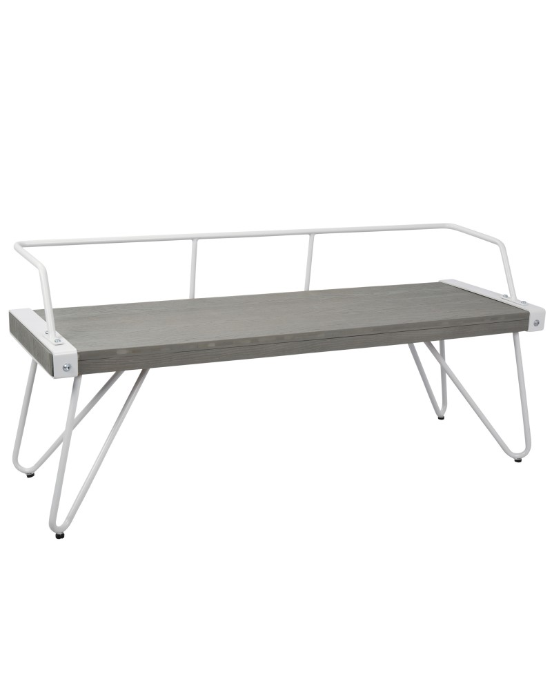 Stefani Industrial Bench in White and Grey