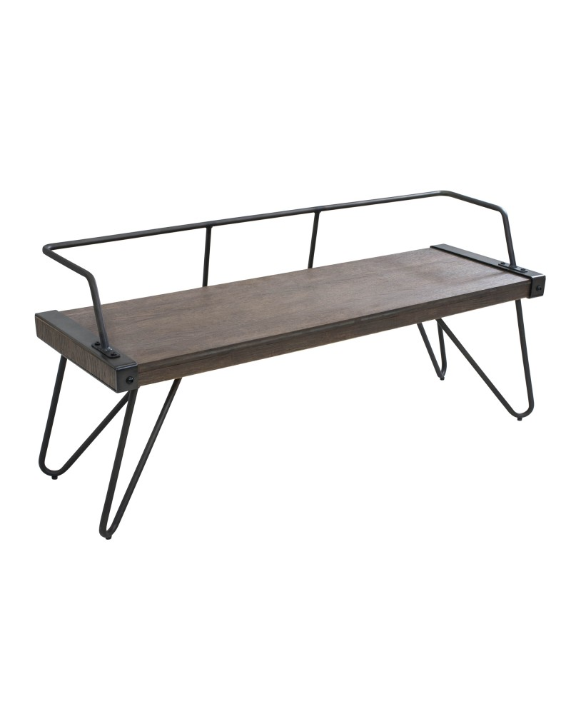 Stefani Industrial Bench in Antique and Walnut