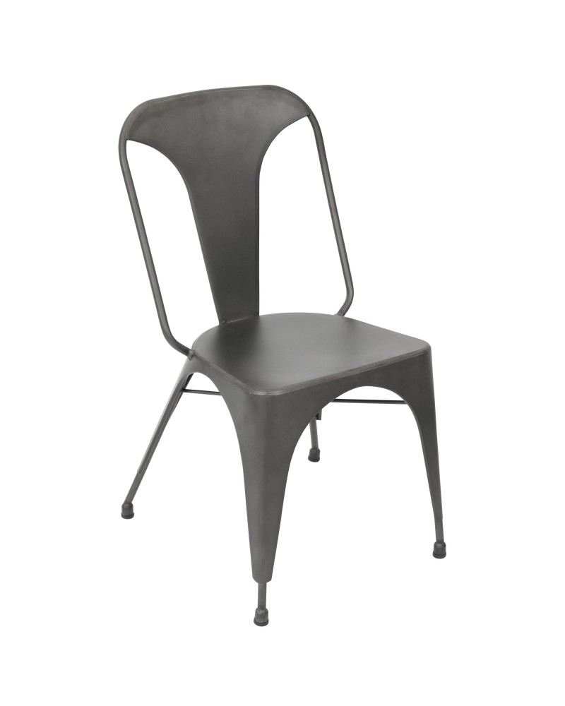 Austin Industrial Dining Chair in Matte Grey - Set of 2