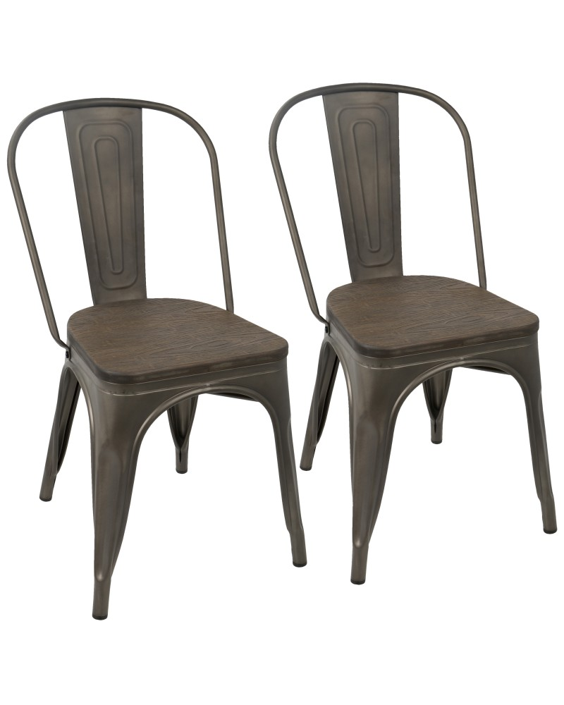 Oregon Industrial-Farmhouse Stackable Dining Chair in Antique and Espresso - Set of 2